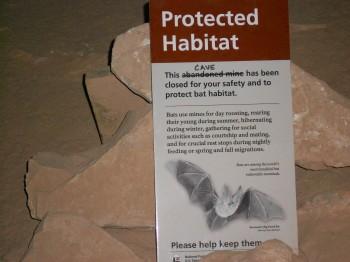 Letrero prohibiendo la entrada a una cueva refugio de murciélagos.